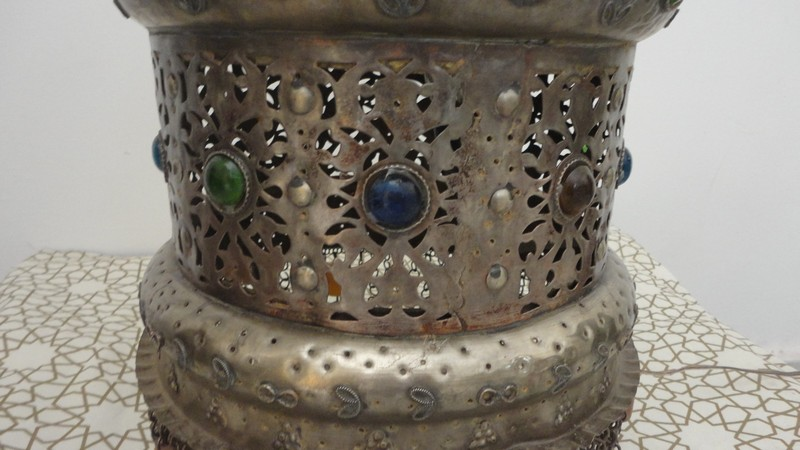 Vintage Handcrafted Moroccan Jeweled Brass Floor Or Table