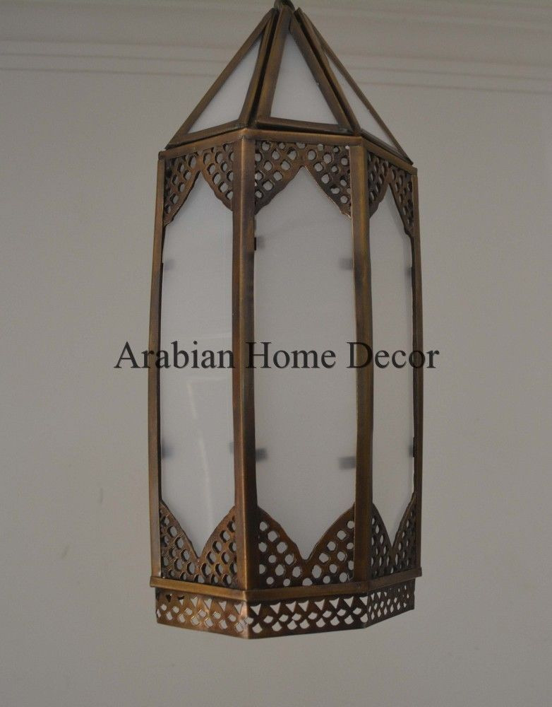 Handcrafted Moroccan Brass Ceiling light Fixture Hanging Lantern ...