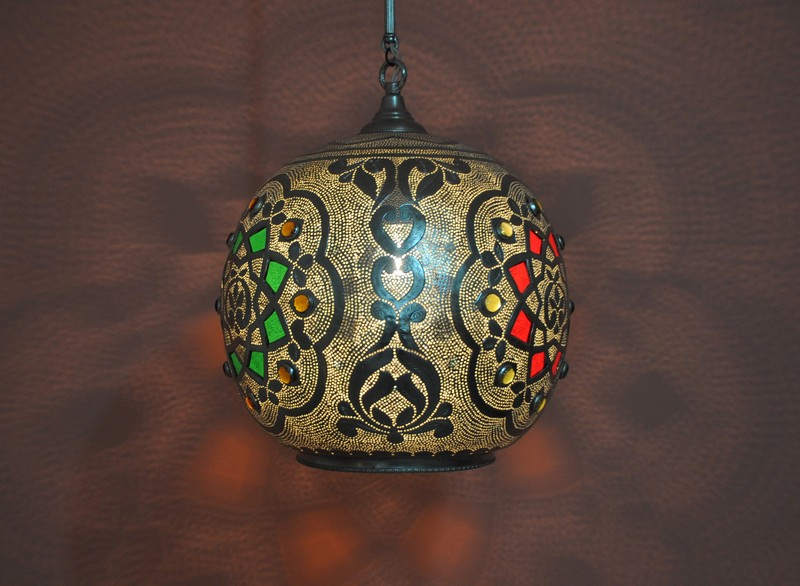 Moroccan Silver Plated Brass Ceiling Light Fixture