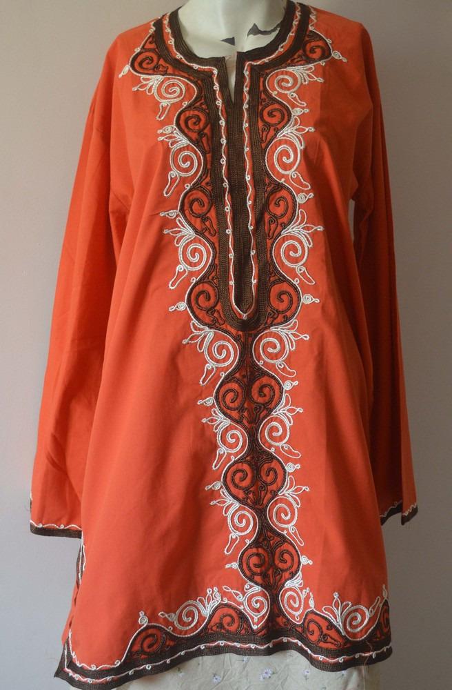 Egyptian Moroccan Islamic Knee Length Orange Embroidered Tunic Blouse Shirt