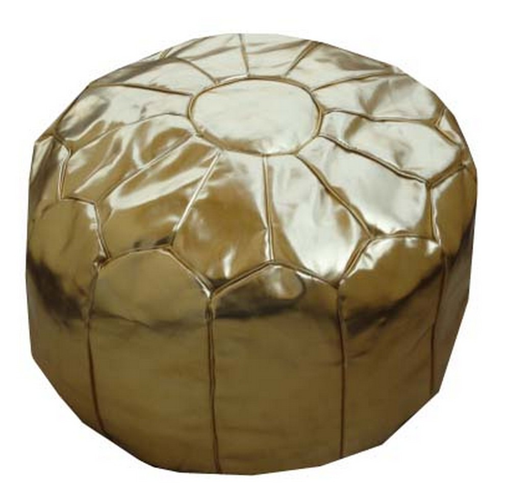 Handcrafted Moroccan Silver Faux Leather Gold Ottoman Pouf ...