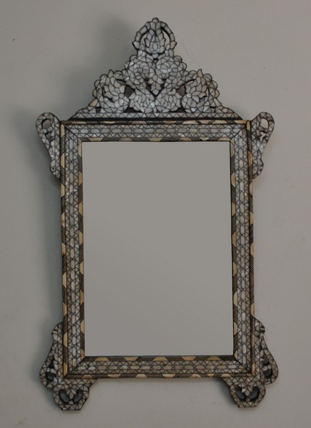 Handcrafted Syrian Mother Of Pearl Inlay Wood Mirror Frame