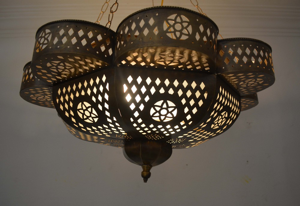 Handcrafted Moroccan Oxidize Bronze Brass Ceiling light Fixture ...