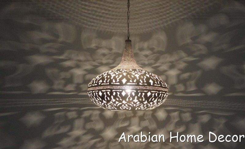 Moroccan Silver Plated Brass Hanging Lamp Pendant Lighting
