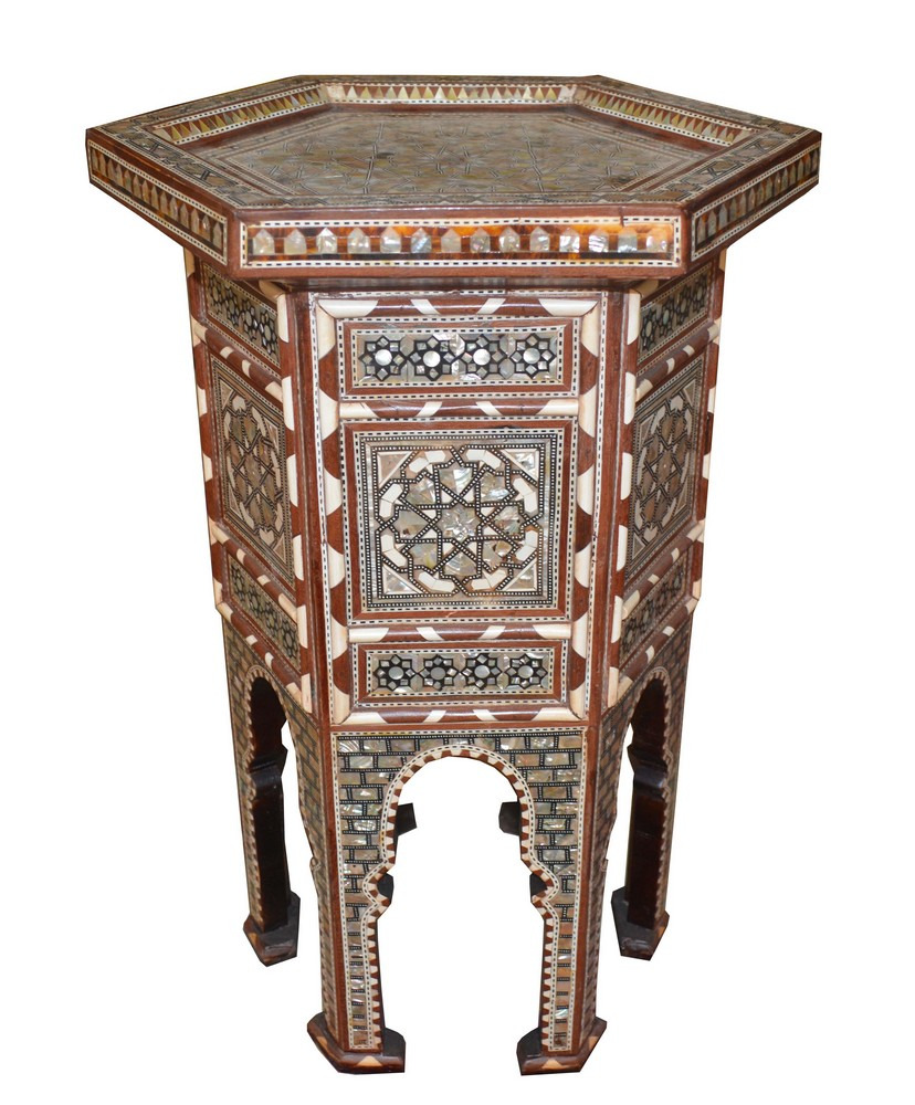 Handcrafted Egyptian Moroccan Mother Of Pearl Inlaid Wood Side Coffee Table