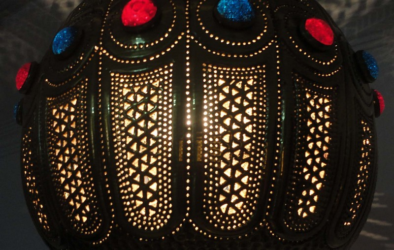 Handcrafted Moroccan Brass Jeweled Hanging Pendant Lamp Chandelier Ebay