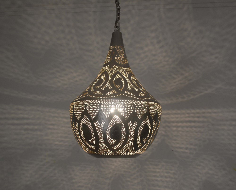 Handcrafted Silver Plated Moroccan Brass Hanging Lamp Ceiling Light ...