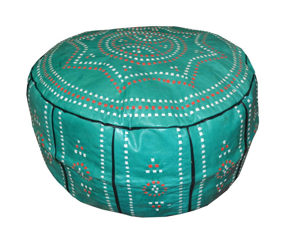 Handcrafted Moroccan Green Leather Pouf Pouffe Ottoman Hassock Magnificent Nuloom Moroccan Pouf