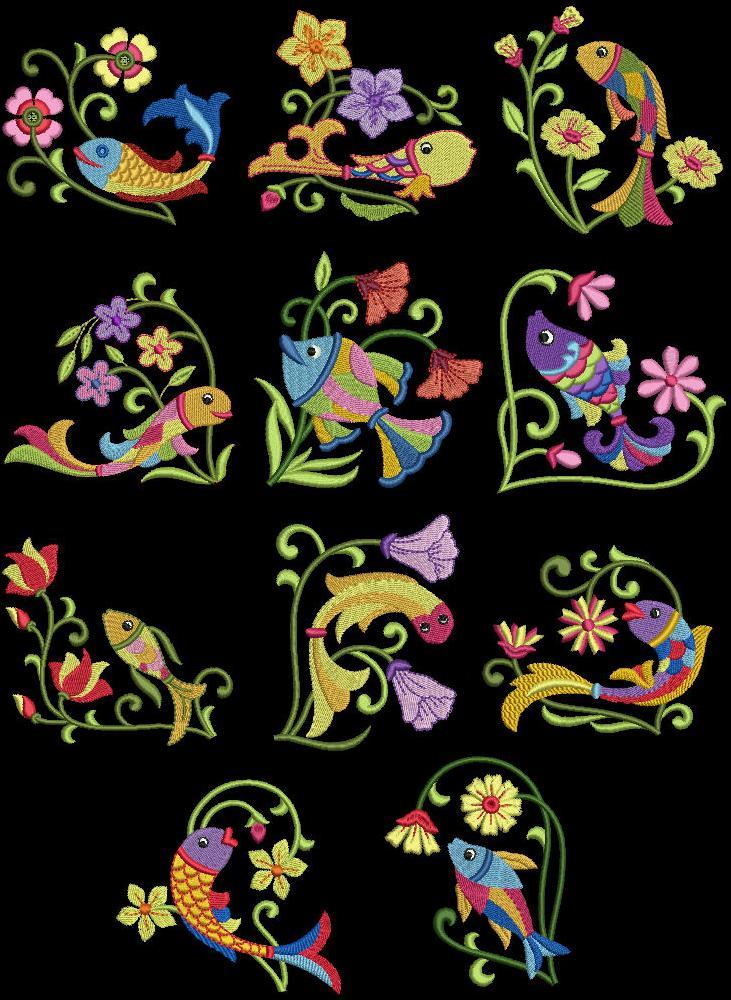 Exotic Sea Life 3 Machine Embroidery Designs Cd 4x4