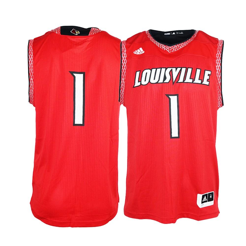 f28f2ba38 Louisville Cardinals NCAA Adidas Men s Red Iced Out Basketball Replica  Jersey (S)