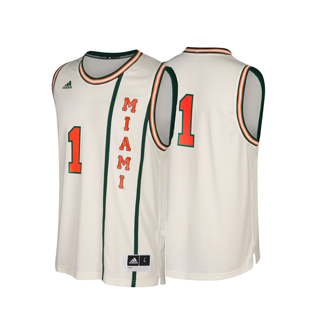 promo code 410d7 1cdde Details about Miami Hurricanes NCAA Adidas #1 Hardwood Classics Tan  Basketball Jersey