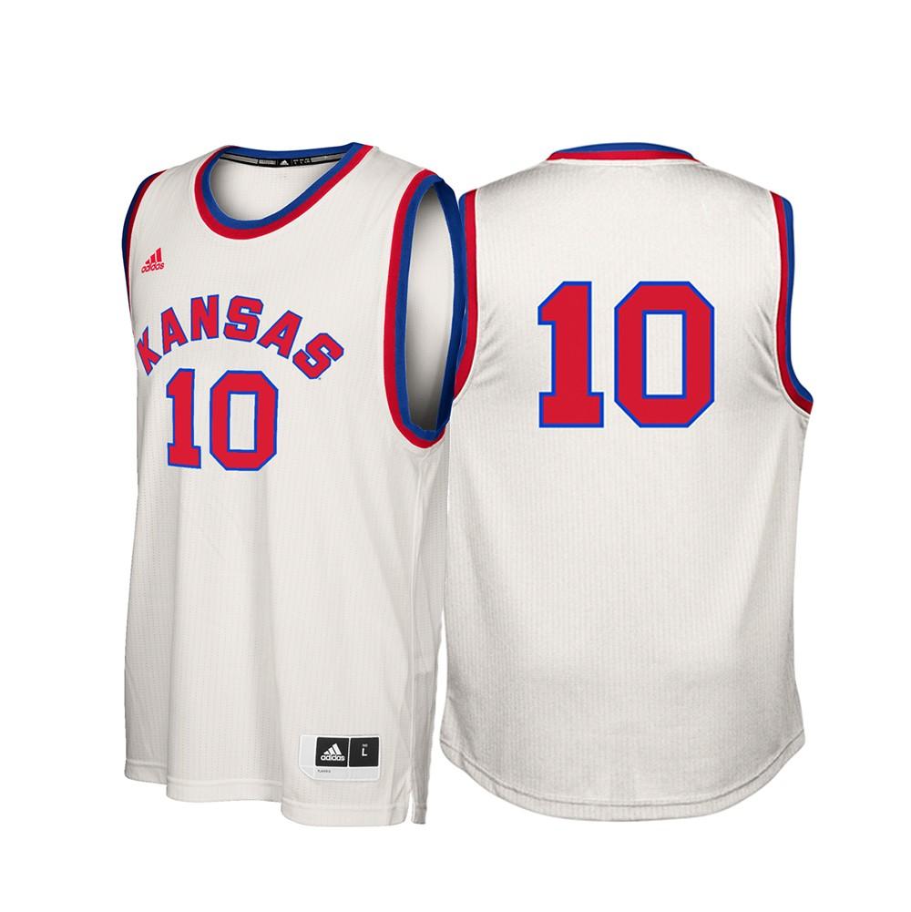 Kansas Jayhawks NCAA Adidas  10 Hardwood Classics Tan Basketball Jersey (XL) a13e4836e