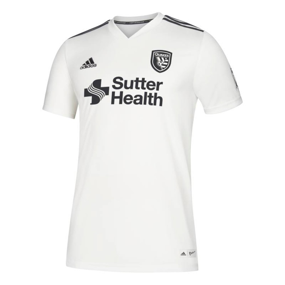 promo code 49036 3b4a4 Details about San Jose Earthquakes MLS Adidas Men's White ClimaLite 2018  Parley Jersey