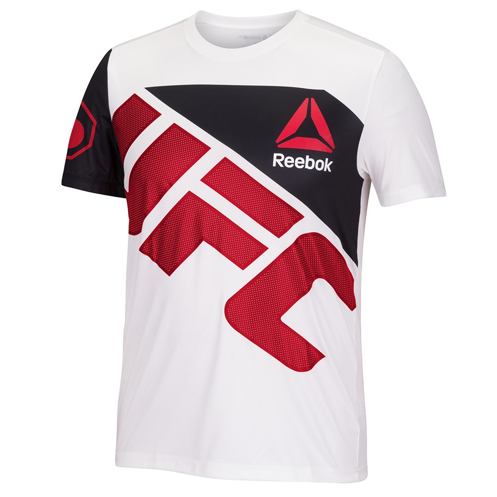 Details about UFC Official Reebok Black FIght Kit Walkout Chalk White Red Jersey Men's