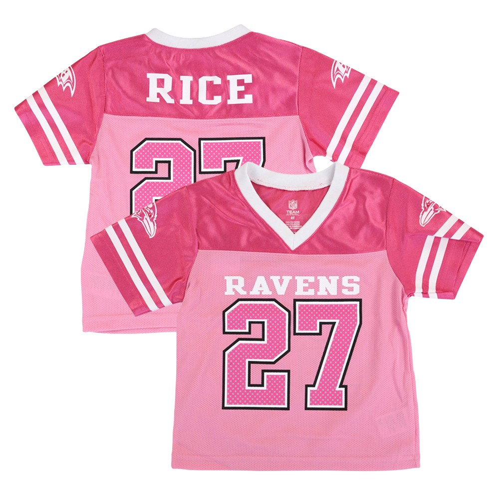 Details about Ray Rice Baltimore Ravens NFL Fashion Pink Replica Jersey Girls Toddler (2T-4T)