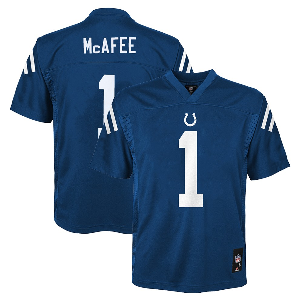 39d87dc70 Details about Pat McAfee NFL Indianapolis Colts Mid Tier Home Blue Jersey  Boys SZ (4-7)