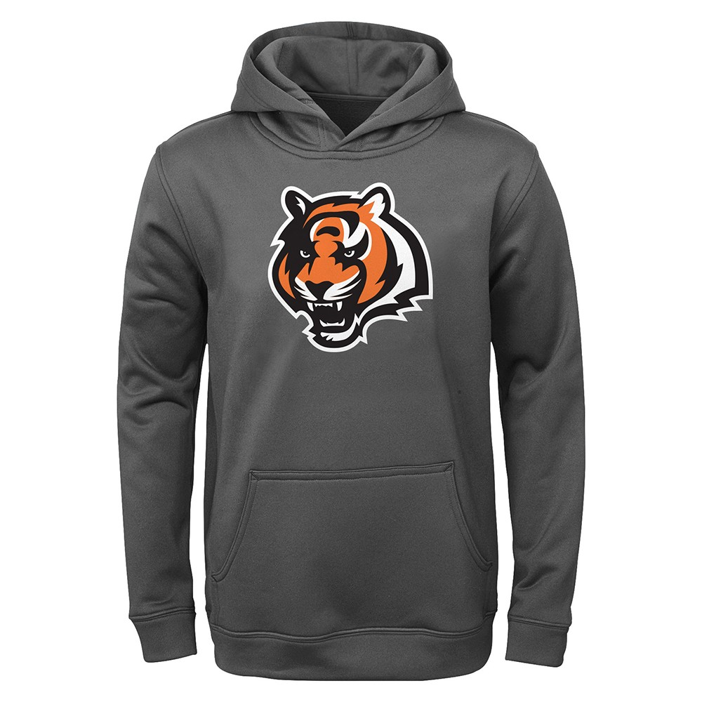 Top Cincinnati Bengals NFL Team Logo Performance Grey Pullover Hoodie  for cheap