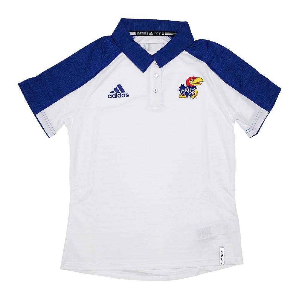 the latest 4b036 bbc65 Kansas Jayhawks NCAA Adidas Women s Sideline Climalite Performance White  Polo Shirt (S)