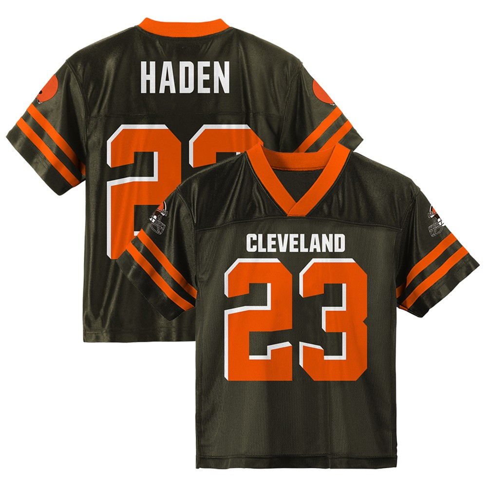 the best attitude 21e2f b4cb5 Details about Joe Haden NFL Cleveland Browns Home Brown Youth Replica  Jersey Size (S-XL)