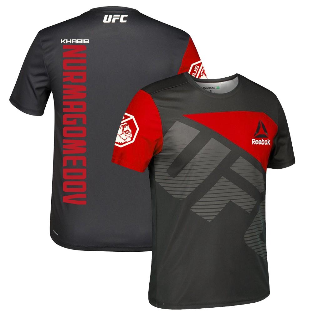 escaldadura Estación de ferrocarril Calibre  Khabib Nurmagomedov UFC Reebok Black/Red Official Fight Kit Walkout Jersey  Men's | eBay