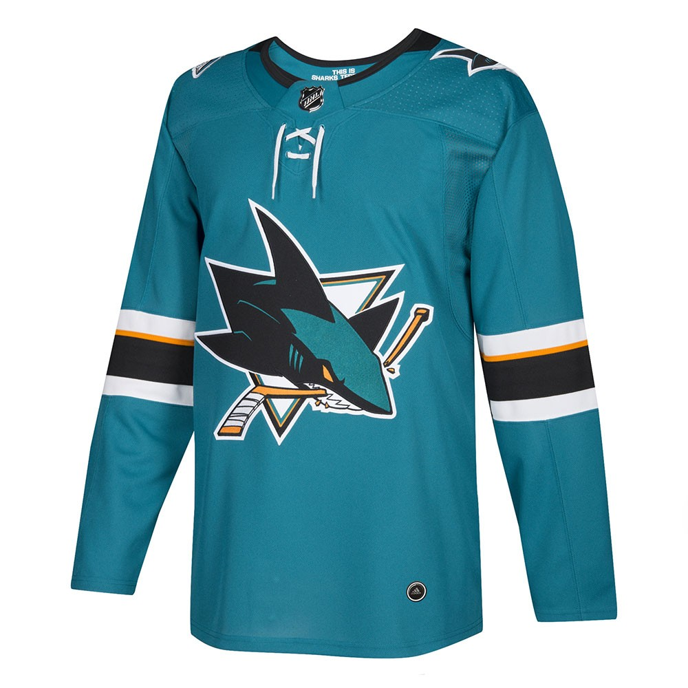 lowest price 6e2af c4d5b Details about 2017-18 San Jose Sharks Adidas Authentic On-Ice Home Teal  Jersey Men's