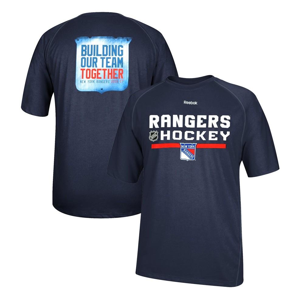 hot sale online e02ad 1dd46 Details about New York Rangers Reebok Authentic Locker PlayDry Performance  Navy T-Shirt Men's