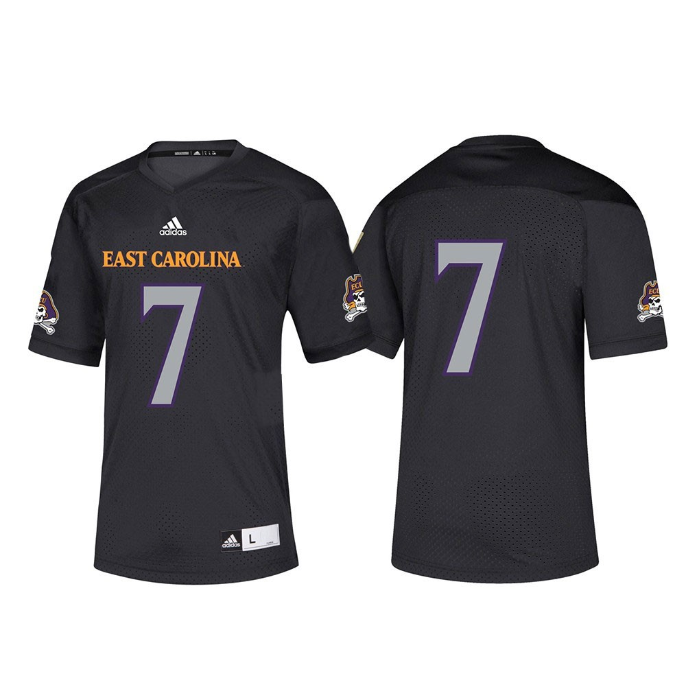 4851f2e60 Details about East Carolina Pirates NCAA Adidas Black  7 Official Football  Replica Jersey