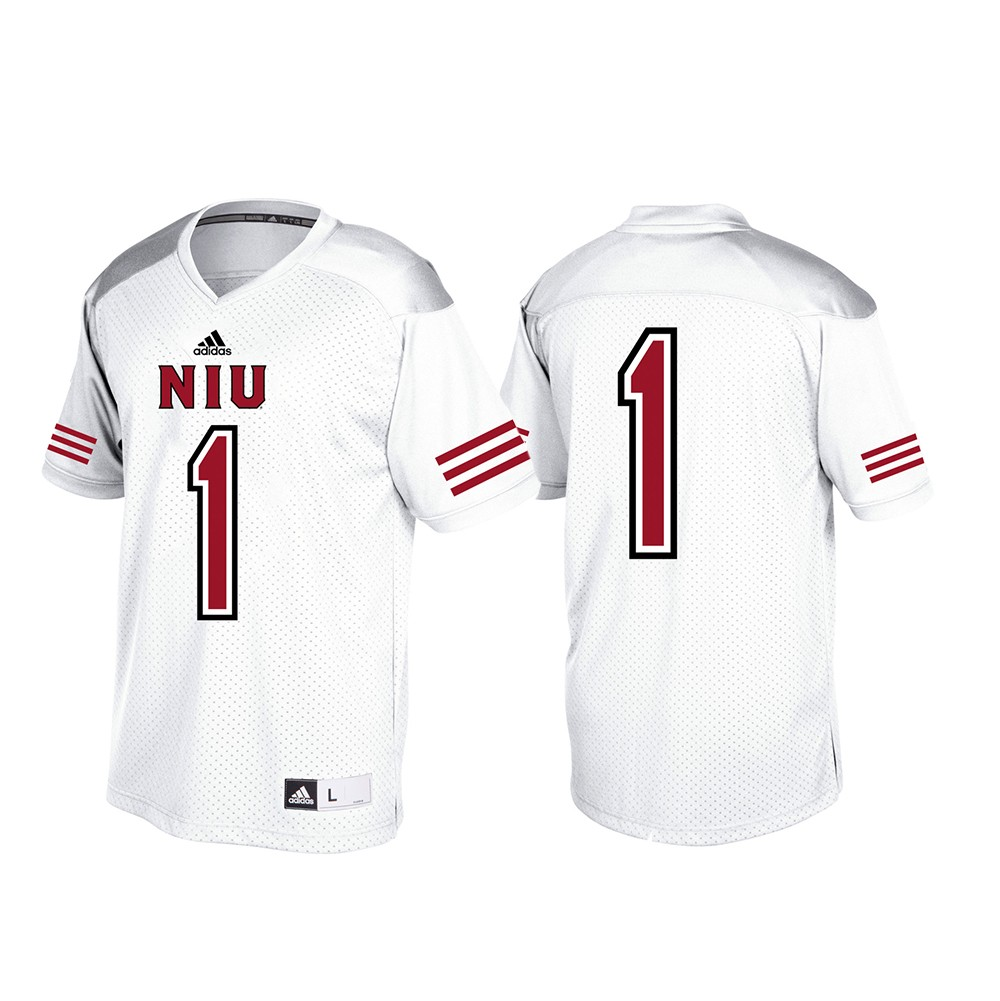 700d8c4e0 Details about Northern Illinois Huskis NCAA Adidas White  1 Official  Football Replica Jersey
