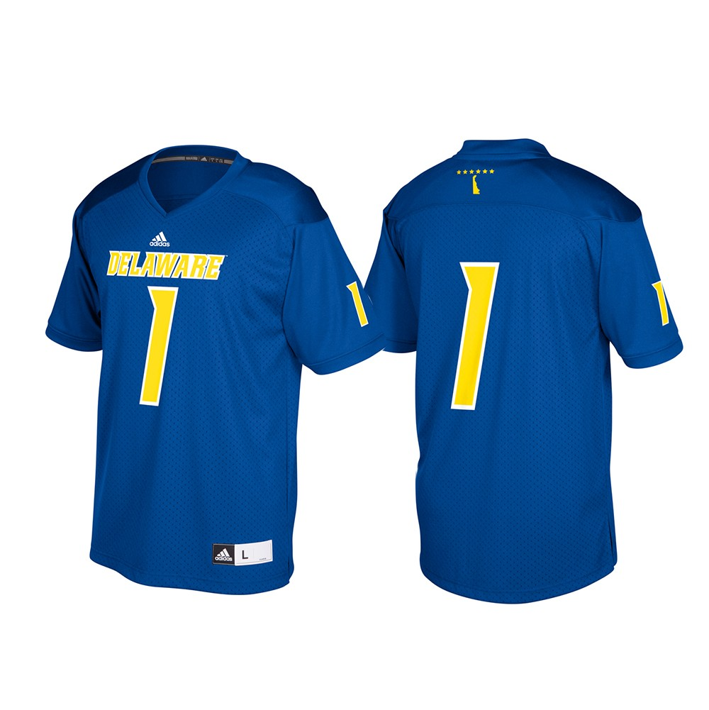 low priced 5b2fc 1dab8 Details about Delaware Fightin' Blue Hens NCAA Adidas Blue #1 Football  Replica Jersey