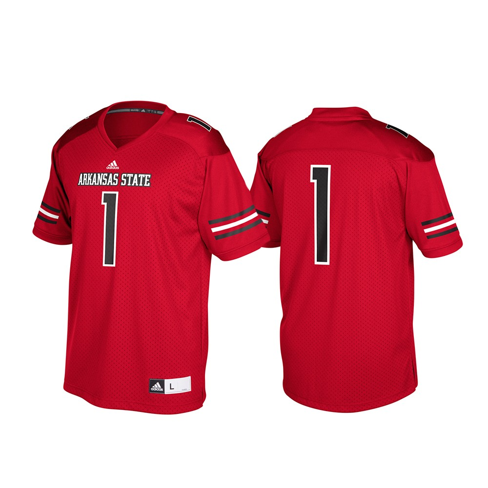 Arkansas State Red Wolves Ncaa Adidas Red 1 Official Football Replica Jersey Ebay