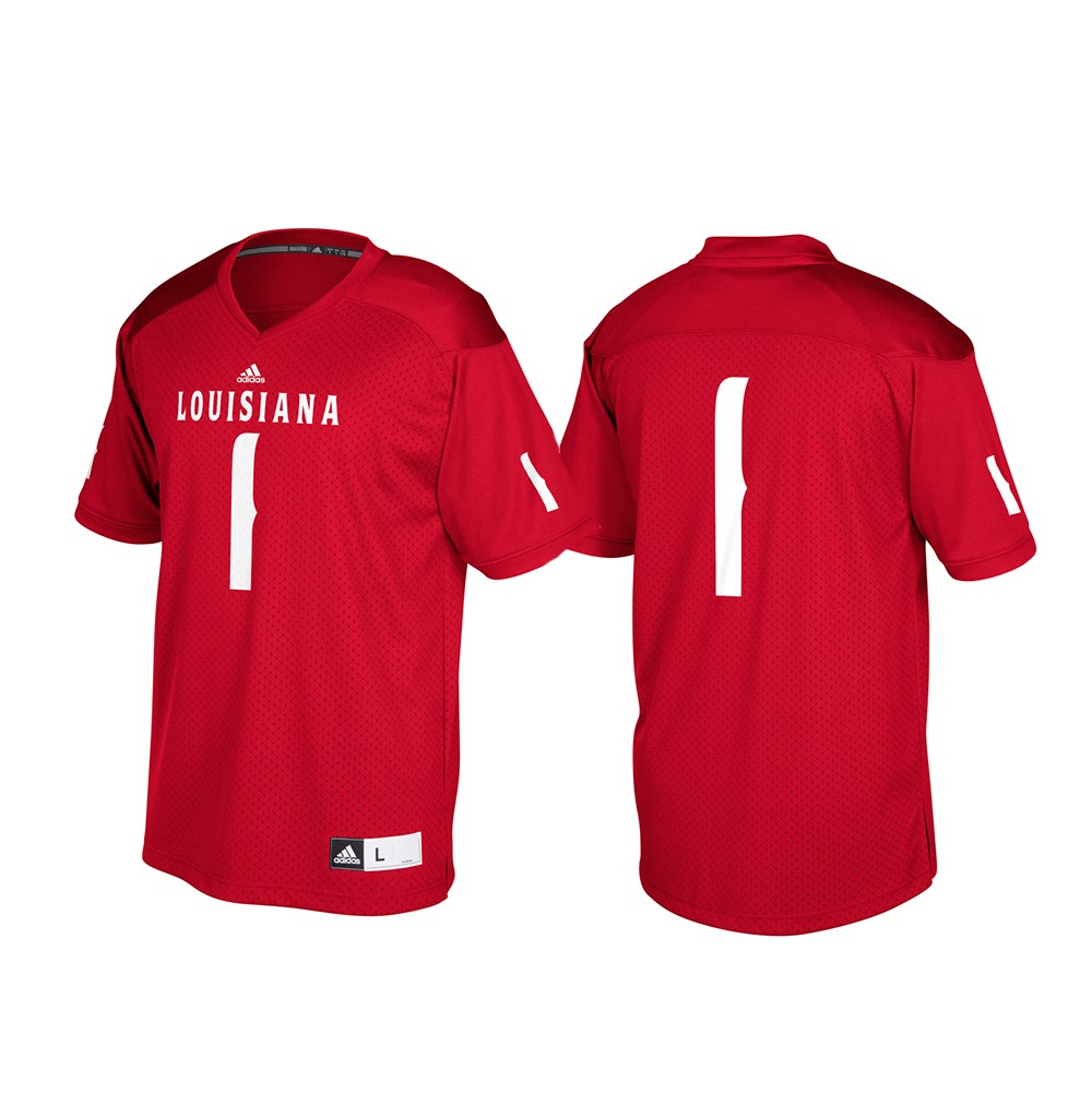 buy online e47ad ebbd9 Details about Louisiana Ragin' Cajuns NCAA Adidas Red #1 Official Football  Replica Jersey