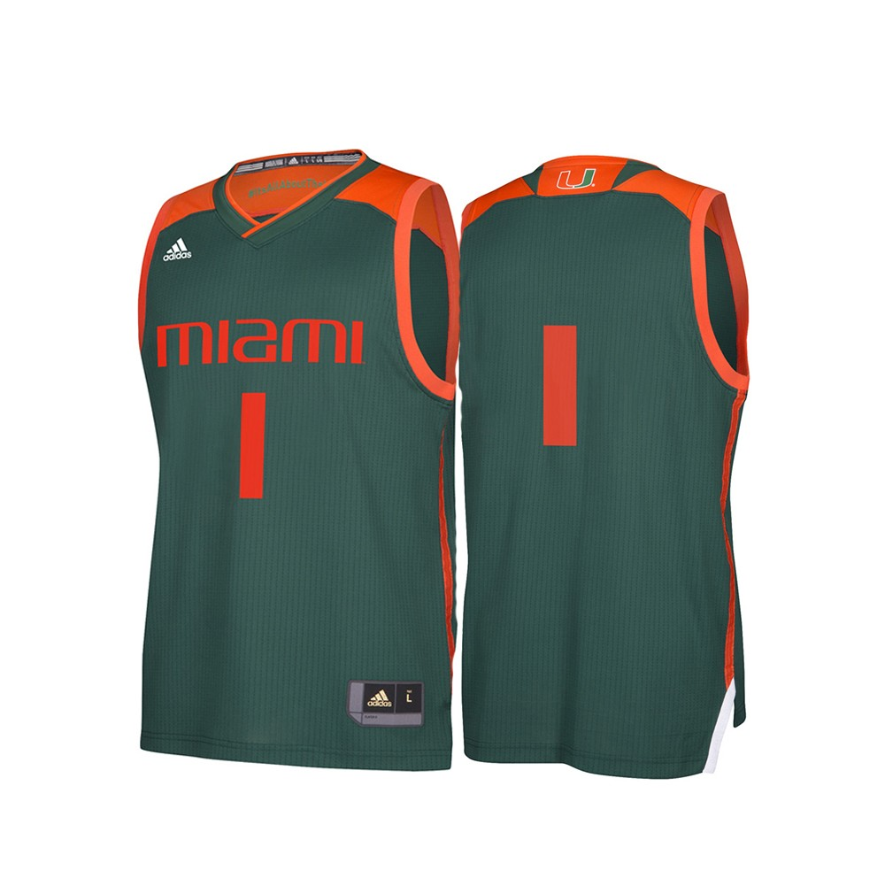 save off a4386 cb5d8 Details about Miami Hurricanes NCAA Adidas Men's March Madness Green #1  Basketball Jersey