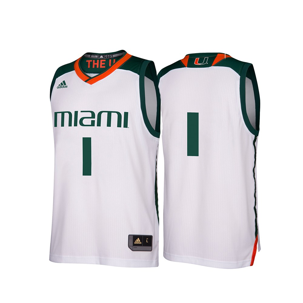 ad4e4c9e31884 Miami Hurricanes NCAA Adidas Men s March Madness White  1 Basketball Jersey  (S)