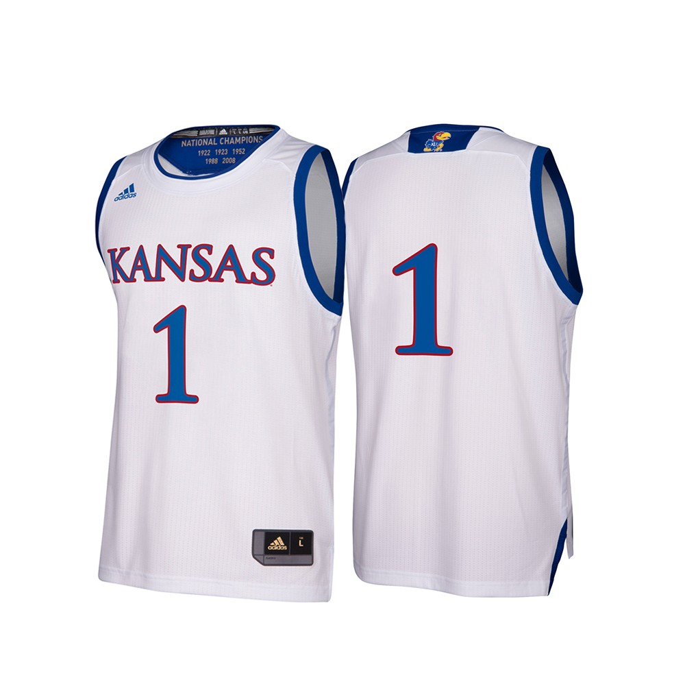 more photos ee765 46032 Details about Kansas Jayhawks NCAA Adidas Men's March Madness White #1  Basketball Jersey (XL)