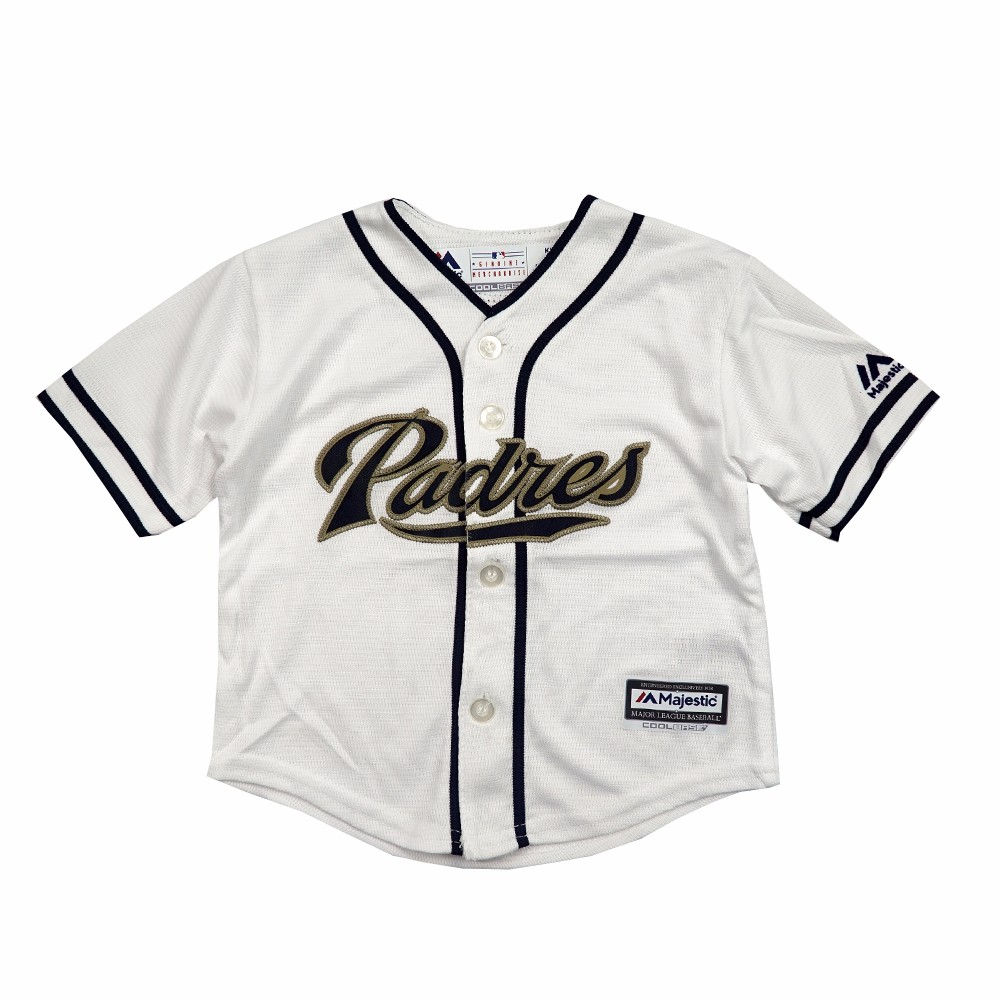 free shipping 975ab 9494c Details about San Diego Padres MLB Majestic Athletic Infant White Home Cool  Base Jersey