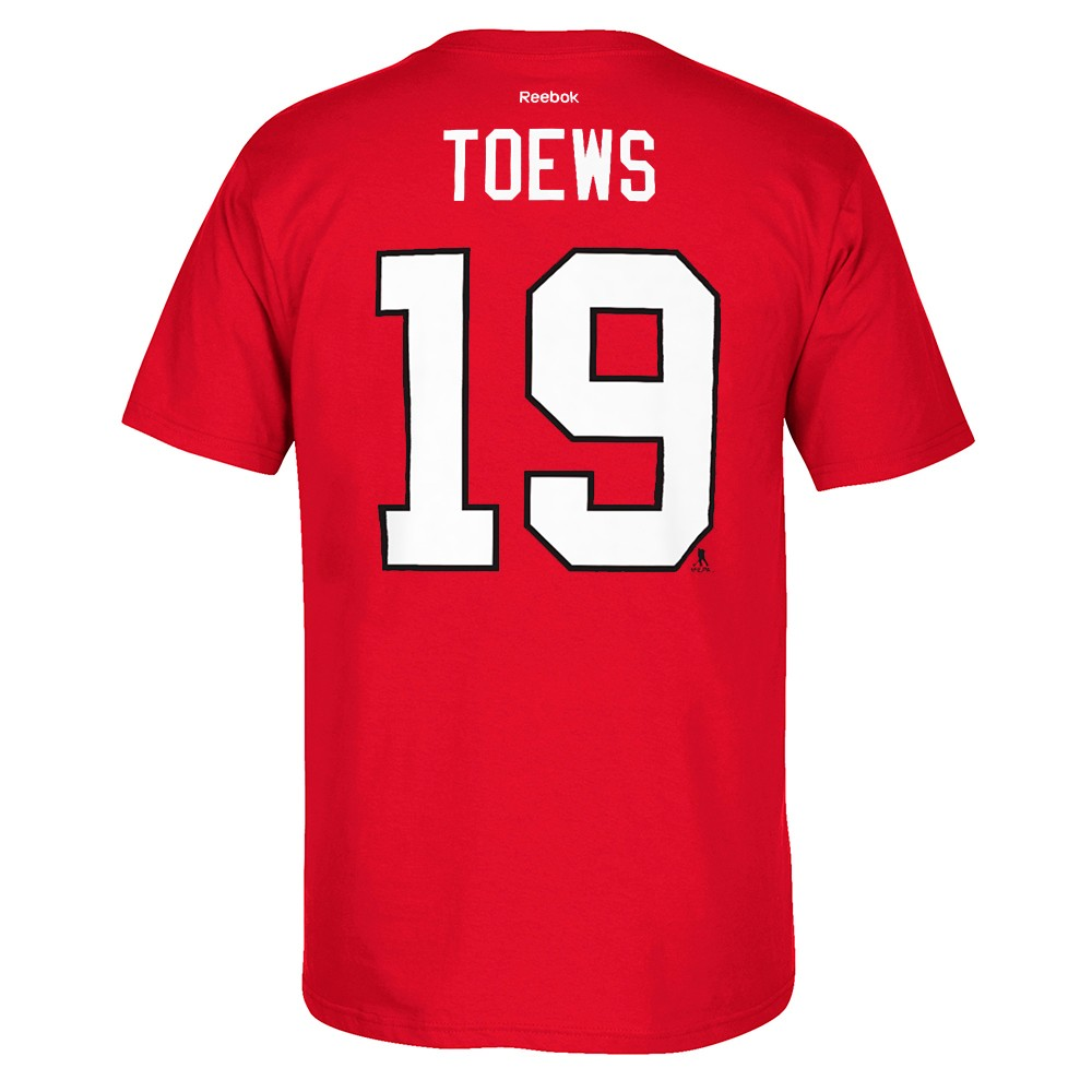 e7f56680b Jonathan Toews Chicago Blackhawks Reebok NHL Player Red T-shirt. About this  product. Picture 1 of 3  Picture 2 of 3 ...