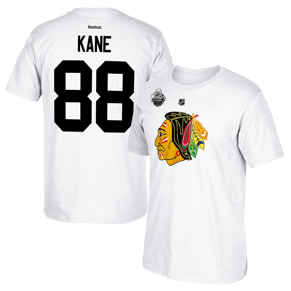 separation shoes bbc37 4a3a4 Details about Patrick Kane Reebok 2017 Chicago Blackhawks Winter Classic  White Jersey T-Shirt