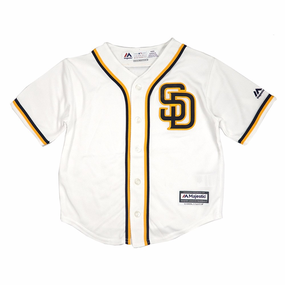 d15263724 San Diego Padres MLB Majestic White Official Home Cool Base Jersey For  Toddler (2T)