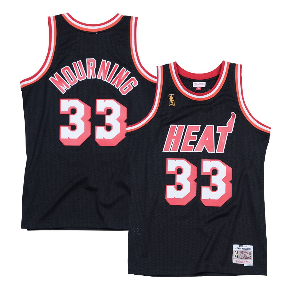 new product 351a5 89437 Details about Alonzo Mourning Miami Heat 1996-97 Road Mitchell & Ness  Swingman Jersey