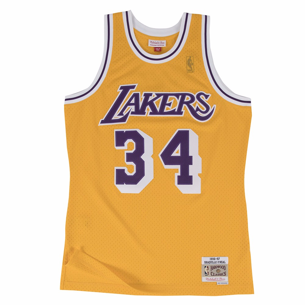 Shaquille O Neal Los Angeles Lakers NBA Mitchell   Ness Gold 1996-97  Hardwood Classics Swingman Jersey For Men (S) bb71729ec