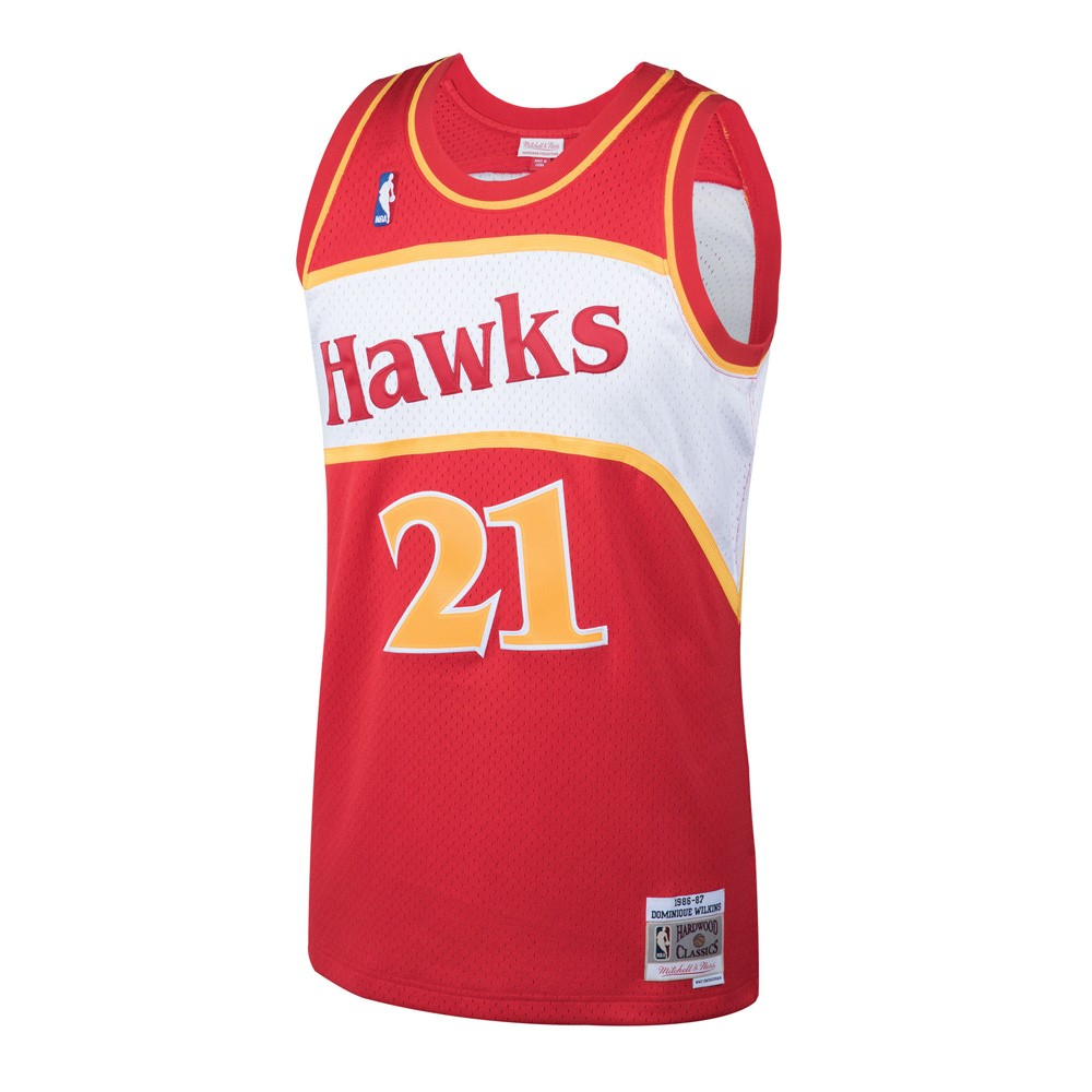 8625212bc277 Details about Dominique Wilkins 1986-87 Atlanta Hawks Mitchell   Ness Red  HWC Swingman Jersey