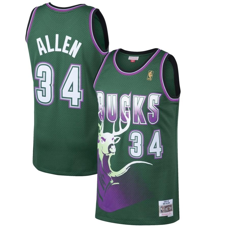 purchase cheap 1352f 82316 Details about Ray Allen Milwaukee Bucks Mitchell & Ness Men's 1996-97  Swingman Green Jersey