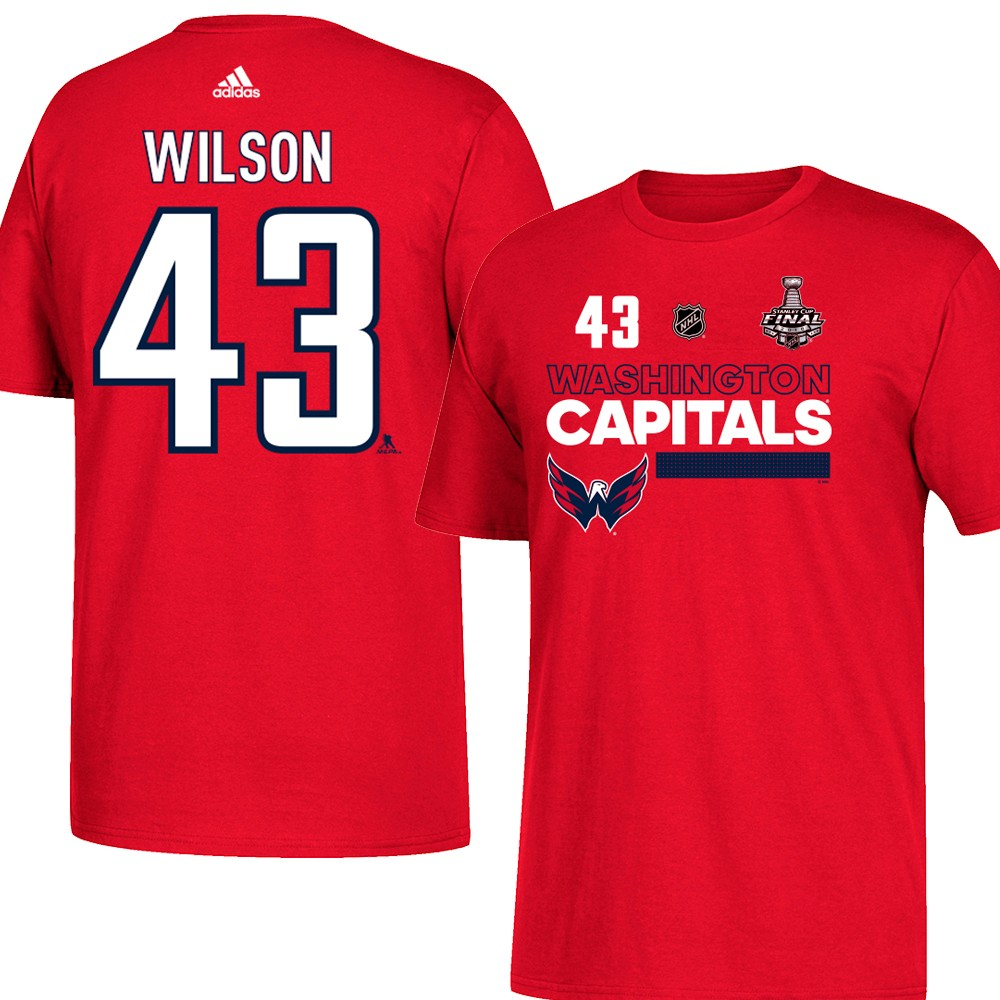sports shoes 10cca 23318 Details about Tom Wilson NHL Washington Capitals Red 2018 Stanley Cup N&N  Jersey T-Shirt