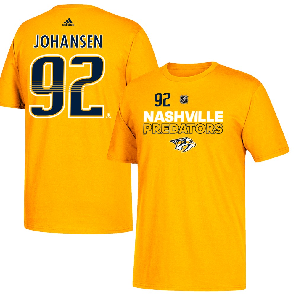 detailed look 6f243 7e69f Details about Ryan Johansen NHL Nashville Predators Adidas Gold Authentic  Ice N&N T-Shirt