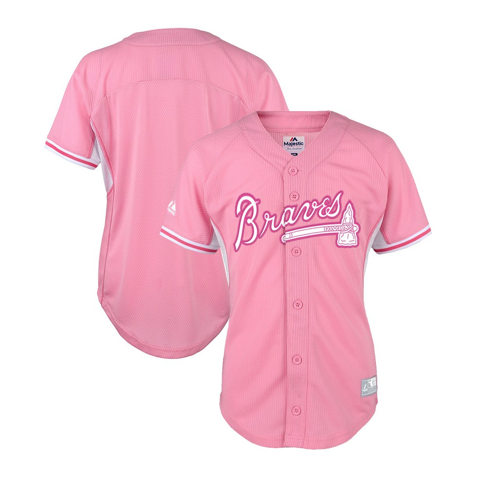factory price 291e8 62f18 Details about Atlanta Braves Majestic MLB Girls Youth Batting Practice Pink  Baseball Jersey