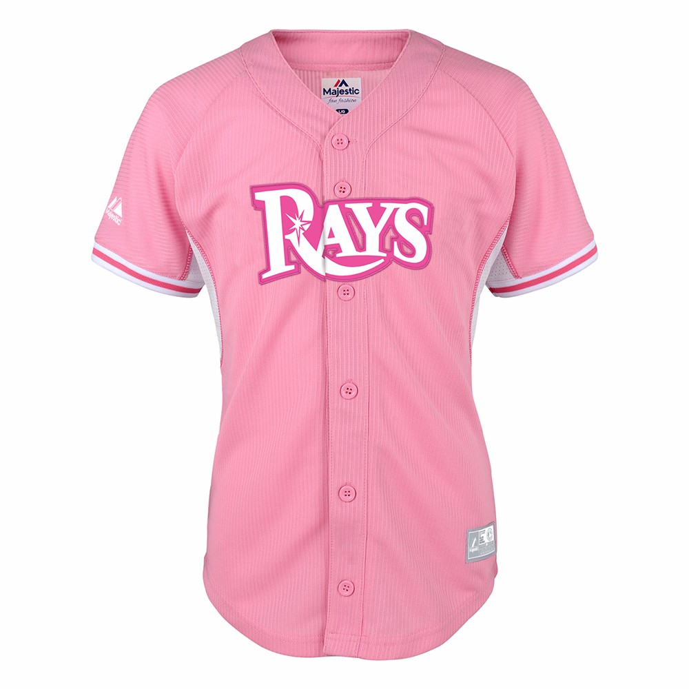 official photos 75b09 0ebff Details about Tampa Bay Rays MLB Majestic Girl's Pink Batting Practice  Fashion Jersey