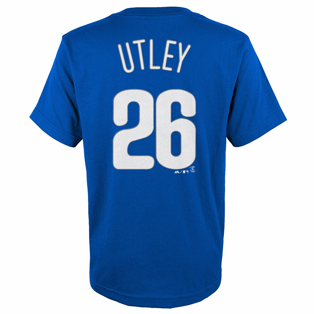 best service 576ac a97aa Details about Chase Utley Philadelphia Phillies MLB Majestic YOUTH Blue  Player Jersey T-Shirt