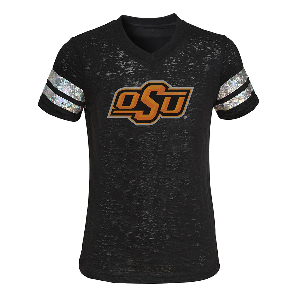 Outerstuff NCAA Youth Girls Oklahoma State Cowboys Dolman Primary Logo Shirt