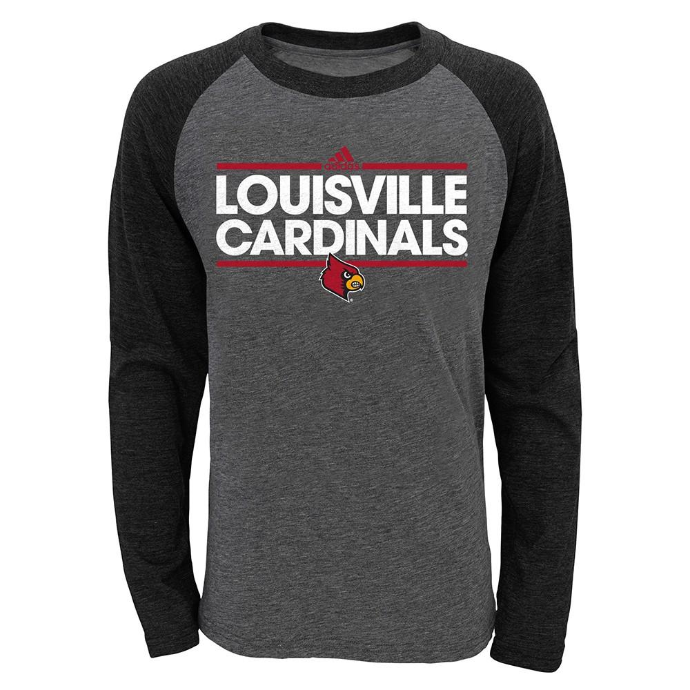 Details about Louisville Cardinals NCAA Adidas Youth Grey Triblend Raglan Long Sleeve T Shirt