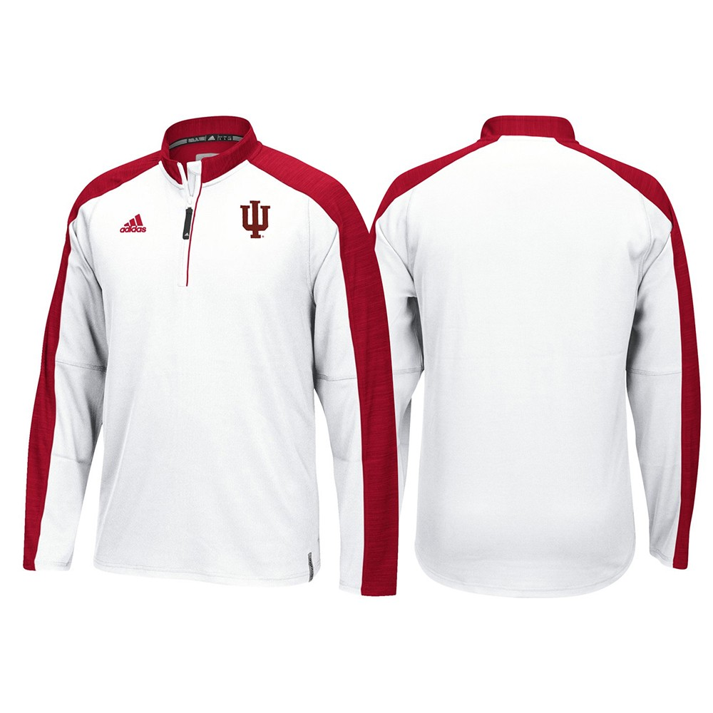 fe9134af6642 Indiana Hoosiers Adidas NCAA Men s White Sideline Climalite 1 4 Zip  Hi-Visibility Reflective Knit